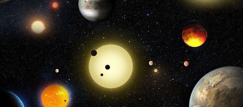 Certaines des planètes découvertes par Kepler (vue d'artiste).