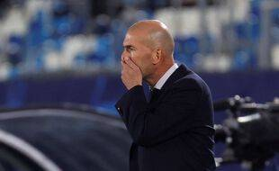 ZIdane sur le banc du Real lors du match contre le Shakhtar en Ligue des champions, le 21 octobre 2020.