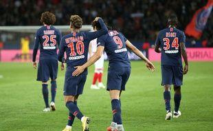 Neymar et Cavani lors de PSG-Reims, le 26 septembre 2018.