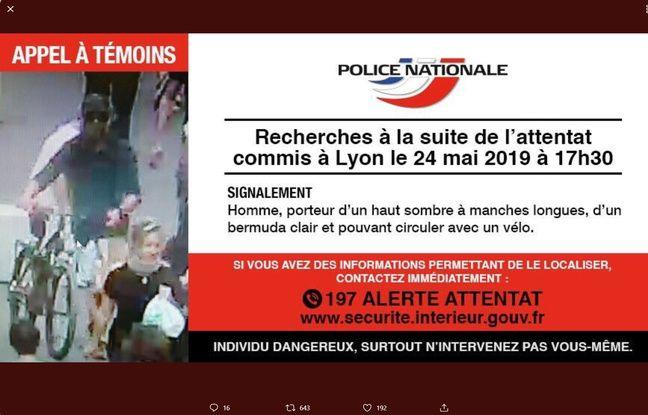La police a lancé un appel à témoins pour retrouver l'auteur présumé de l'attaque au colis piégé qui a fait 13 blessés légers à Lyon le 24 mai 2019.