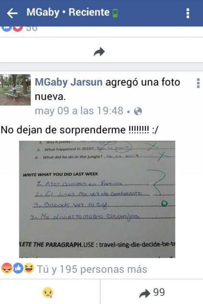 Capture d'écran du message posté par l'enseignante argentine sur Facebook.