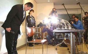 L'entraîneur de l'équipe féminien du Japon lors de sa démission, le 31 janvier 2013, à Tokyo.