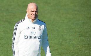 Zinédine Zidane à l'entraînement avec le Real Madrid, le 15 mars 2019.