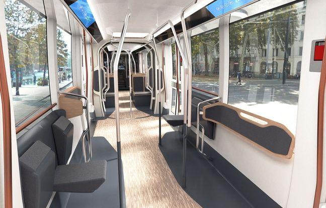 Image de synthèse de l'intérieur du futur tramway nantais.