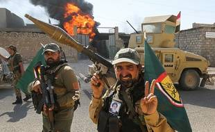 Des combattants de la coalition de milices chiites Hachd al-Chaabi à Tal Afar, le 26 août 2017.