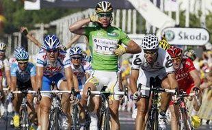 Mark Cavendish, vainqueur de la 3e étape du Tour, entre Marseille et la Grande-Motte, le 6 juillet 2009.