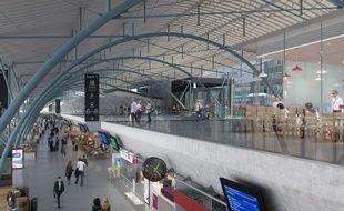 Vue d'artiste de la modernisation de la gare Lille Europe.
