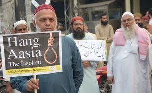 Partisan du TLP, parti islamiste extrémiste, demandant la mort de la chrétienne Asia Bibi, au Pakistan