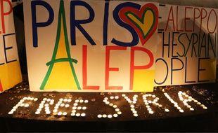 Paris, manifestation contre le massacre à Alep. Le 02 d2cembre 2016.Credit:SEGVI/SIPA