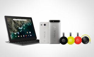 La tablette Pixel C, les smartphones Nexus 5X et 6P et les nouveaux Chromecast, audio et vidéo de Google.