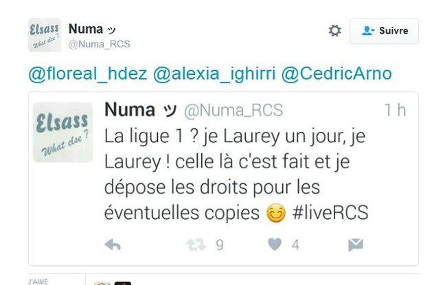 Tweet d'un supporter du Racing club de Strasbourg après la nomination de Thierry Laurey comme coach des deux prochaines saisons.