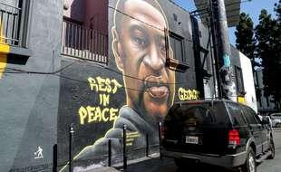 Une fresque rendant hommage à George Floyd, le 26 août, à Los Angeles.