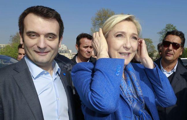Marine Le Pen et Florian Philippot (FN) lors de la viste de Marine Le Pen, candidate FN à la présidentielle de 2017, sur la pelouse de Reuilly, à Paris, France, le 7 avril 2017