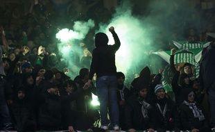 Les supporters stéphanois, ici lors d'un précédent déplacement européen, en février 2017 à Old Trafford.
