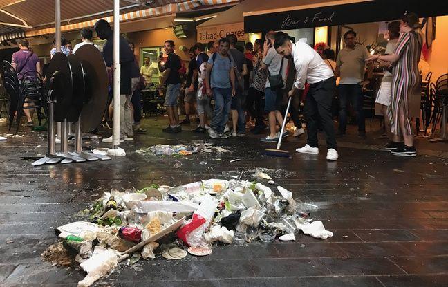 Les chaises et les tables ont été renversées, mardi soir, sur le cours Saleya de Nice après un mouvement de foule.