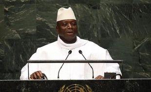Le président gambien Yahya Jammeh à la tribune de l'ONU à New York, le 25 septembre 2014