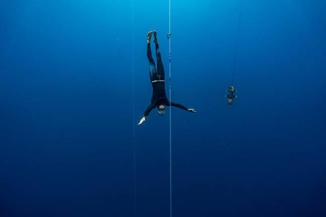 Morgan Bourc'his en immersion libre.