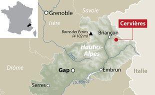 Carte de situation de Cervières (Hautes-Alpes)