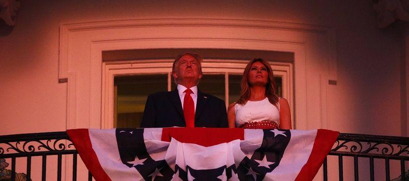 Donald et Melania Trump devant le feu d'artifice du 4 Juillet.