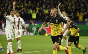 Haaland a inscrit un doublé contre le PSG en 8e de finale aller de la Ligue des champions, le 18 février à Dortmund.
