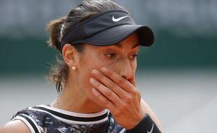 Caroline Garcia, sortie dès le deuxième tour du tournoi de Roland-Garros par la qualifiée russe Anna Blinkova, le 30 mai 2019.