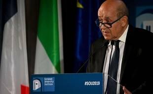Le ministre des Affaires étrangères Jean-Yves Le Drian à Florence (Italie) le 3 mai 2019.
