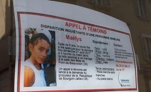 Maëlys, 9 ans, a disparu dans la nuit de samedi à dimanche, le 27 août 2017, à Pont-de-Beauvoisin en Isère. Un appel à témoins a été diffusé par les gendarmes et placardé, notamment, dans les commerces de la commune.