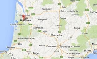 Capture d'écran Google d'une carte indiquant la localité de Cestas, où se trouve l'Intermarché.