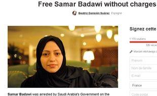 Capture écran du site change.org demandant la libération de Samar Badaoui, frère du blogueur saoudien emprisonné depuis 2012.