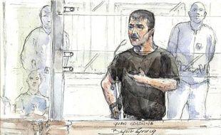 Croquis d'audience représentant Yvan Colonna lors de son procès en appel, à Paris le 4 mai 2011