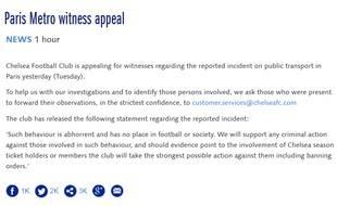Chelsea a lancé un appel à témoins sur son site pour retrouver les supporters qui ont empêché une personne noire de monter dans le métro parisien avant PSG-Chelsea, le 17 février 2015.