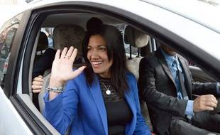 Samia Ghali, le 20 octobre 2013, jour du second tour de la primaire à Marseille.
