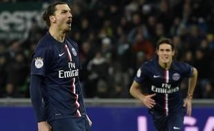 Zlatan Ibrahimovic, buteur lors du match entre Saint-Etienne et le PSG le 25 janvier 2015.