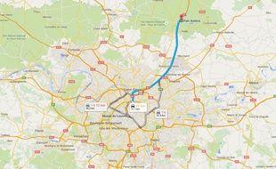 Trajet entre le Parc d'attractions Astérix et le musée du Louvre de Paris.