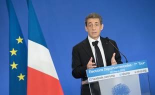 Nicolas Sarkozy au siège de l'UMP à Paris le 22 mars 2015.