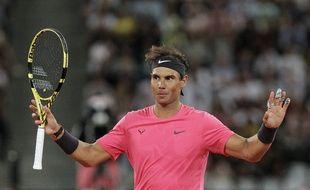 Rafael Nadal lors d'un match exhibition contre Roger Federer le 7 février 2020 au Cap.