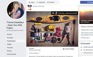 Capture d'écran de la page Facebook de Thomas Destailleur