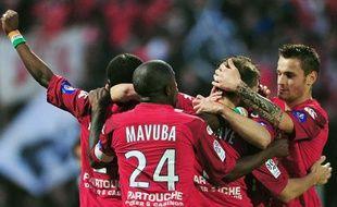 Les joueurs de Lille, lors de la victoire du Losc en L1 contre Marseille, le 8 mai 2010.