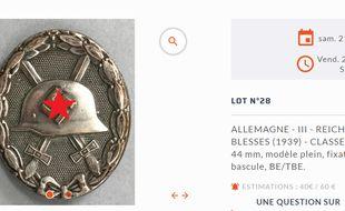 Un objet qui sera proposé aux acheteurs lors de la vente aux enchères à Vannes. (Capture d'écran).