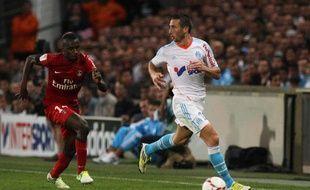 Blaise Matuidi (à gauche) et Morgan Amalfitano lors de OM-PSG (2-2), le 7 octobre 2012 au Stade Vélodrome.