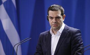 Le Premier ministre grec Alexis Tsipras lors d'une conférence de presse à Berlin, le 23 mars 2015.