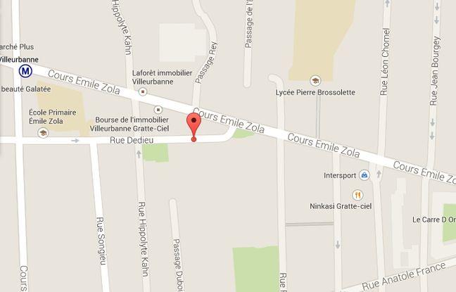 Google Map rue Dedieu à Villeurbanne