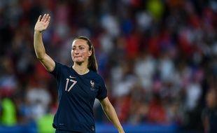 Gaëtane Thiney, lors de l'élimination de la France en quart de finale de la Coupe du monde face aux USA, le 28 juin 2019.