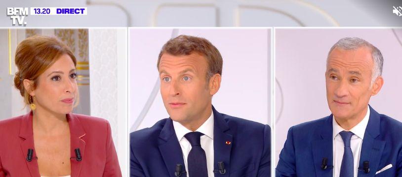 Emmanuel Macron répond aux questions des journalistes Léa Salamé et Gilles Bouleau, ce 14 juillet 2020.
