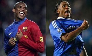 Samuel Eto'o (Barcelone) contre Didier Drogba (Chelsea), le 27 avril 2009.