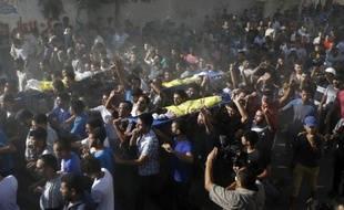 Funérailles des quatre enfants palestiniens tués dans un bombardement israélien, le 16 juillet 2014 à Gaza