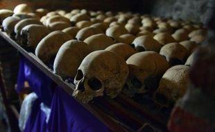 Des crânes humains exposés au Mémorial du génocide à Nyamata, dans l'église catholique où des milliers de personnes ont été massacrées en 1994, lors du génocide au Rwanda