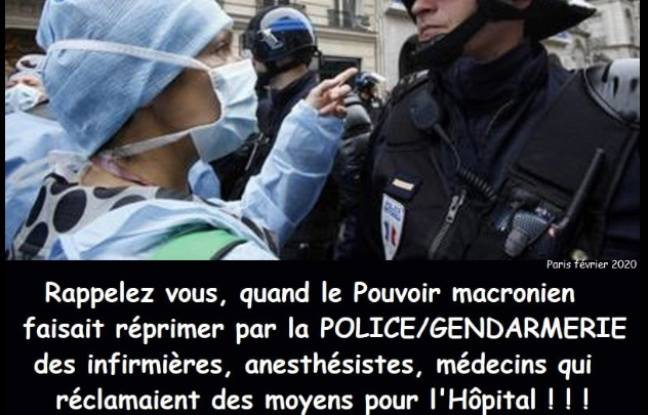 L'une des deux photos hors contexte d'infirmiers en manifestation.