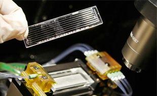 Une opératrice place des échantillons d'ADN dans un séquenceur.