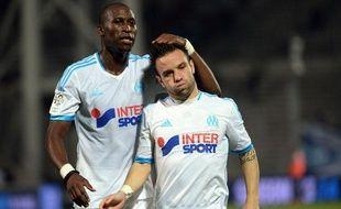 Rod Fanni et Mathieu Valbuena lors du match entre Marseille et Saint-Etienne le 24 septembre 2013.